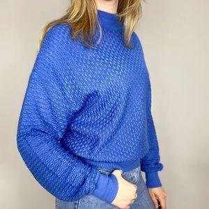 Vintage blue mock neck knit sweater